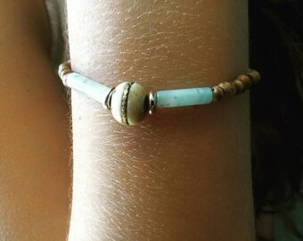 Amazonite bracelet, wood, brass, silver and pearls / Amazonite, Wood, Brass, Silver and Pearl.