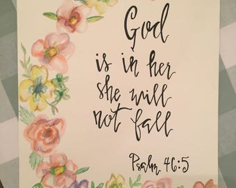 Hand Painted Watercolor with Hand Lettered Verse
