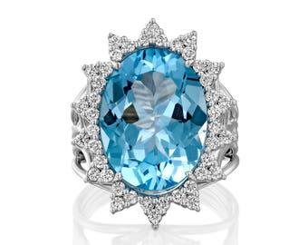 Blue Topaz Ring /  London Blue Topaz/ Blue Topaz Jewelry/ Gemstone Ring/ Birthstone Ring / Gemstone ring / Gold Gemstone Ring / Diamond Ring