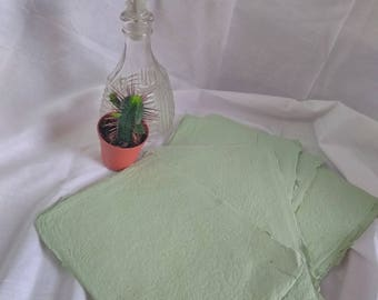 Handmade Light Green Recycled Paper Sheets