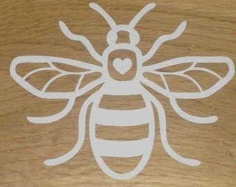 Manchester Bee Vinyl Car Decal Sticker 160mm x 130mm Heart White B