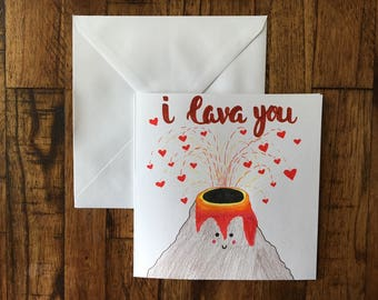 I Lava You Anniversary Card, Anniversary, Valentine's Day, Birthday, Cute card for Wife or girlfriend, card for husband or boyfriend