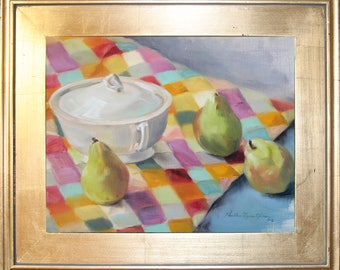 China and Three Pears Original Oil Painting