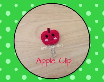 Planner Clip Apple-Planner Clip-Planner Accesories-Planner Supplies- Paper Clip-Apple Feltie Paper Clip-Journal Clip-Bookmark