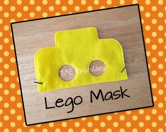 Lego Inspired Felt Mask- Child's Dress Up Imaginary Play- Birthday Party Favor-Photo Shoot-Pretend Play-Lego Theme Party
