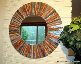 Tropical Rays stained glass mosaic mirror