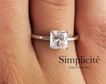 1.5 ct Princess Cut Engagement Ring, SI1 Diamond Solitaire Ring White Gold 14k