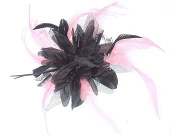 Navy and pink feather fascinator comb, Weddings,Races, Ladies Day