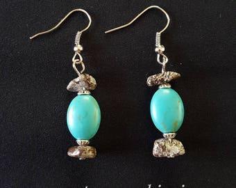 Turquoise & Zebra Stone Earrings