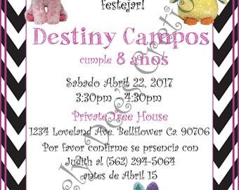 Beanie Boo, Beanie Boo Invitations, Beanie Boo Invite, Beanie Boo Birthday Invitation