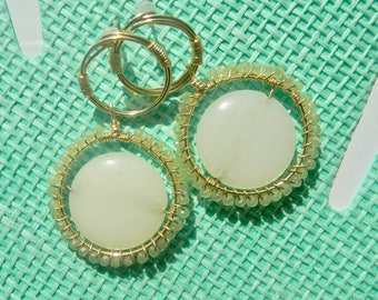 Gold Wire Wrapped Stud/Dangle Light Green and White Beaded Statement Earrings