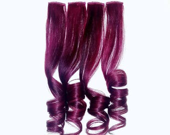 Set of 4 PLUM BURGUNDY WINE Galaxy Oil Slick Clip In Hair Extensions, Ombre Mermaid Hair, Human Hair Extensions, Hair Weave, Unicorn Hair