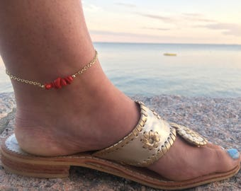 Beaded Anklet - Beaded Bar Anklet - Bar Anklet - Red Gemstone Anklet - Beaded Ankle Bracelet