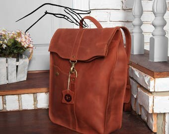 Leather backpack women,Leather backpack handmade,Brown leather rucksack,Leather rucksack women,Leather backpack men,Brown backpack women,