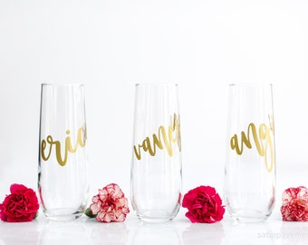 Stemless Champagne Flute, Bridesmaid Gift, Stemless Wine Glass, Custom Proposal Gift, Champagne Glasses, Personalized Monogram Glasses