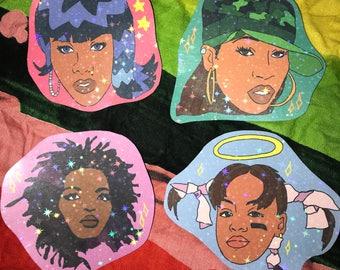 Female Rap - Sticker Pack 4 Pack - Missy Elliott Lisa Left Eye Lopes Lil Kim Lauryn Hill 90s Rappers Legendary Glitter