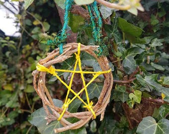 Pentagram star decoration for altars or wall hanging. Witches, wiccan and pagans alike.