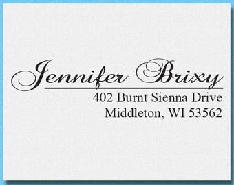 Custom Calligraphy Address Stamp, Personalized Address Stamp, Modern Calligraphy Stamp, Return Address Stamp, Save the Date Stamp