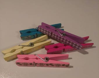 Handpainted decorative clothespins
