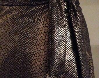gold snakeskin wrap skirt