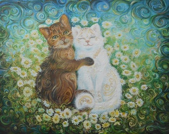 "Oil painting on canvas ""Cats of a daisy"""