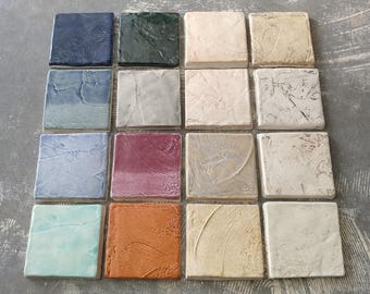"""Lot of 16 3"""" x 3"""" Field Tiles in a variety of colors!"""