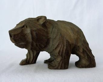 VJ177 : Old Japanese HIGUMA Bear Ainu Hokkaido carving wood