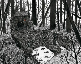 Whose Afraid of the Big Bad Wolf? Black and White Wolf, A5 Print