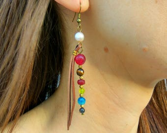 Earrings for women, pearl earrings, long earrings, stone earrings, gem learher earrings, gift for women, boho earrings, dangle long earrings