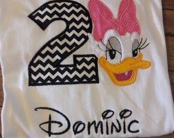 Daisy Duck Embroidered Birthday Shirt