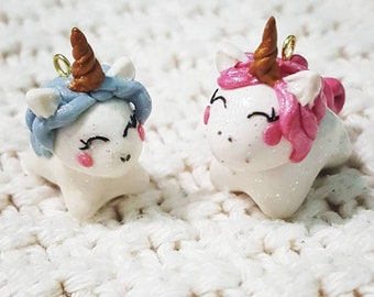 Unicorn Charms, Pearl, Pearl Unicorns, Unicorn Jewelry, Polymer Clay Charms, Polymer Clay Unicorns, Spring Charms, Kawaii Charms, Easter