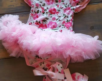 Floral tutu outfit with matching headband and ballet shoes