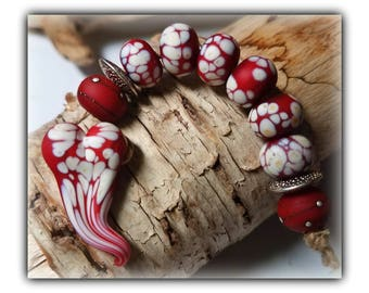 Red Satin Floating Heart Focal Set**Handmade Lampwork Beads**
