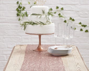 Rose Gold Sequin Table Runner - Beautiful Botanics