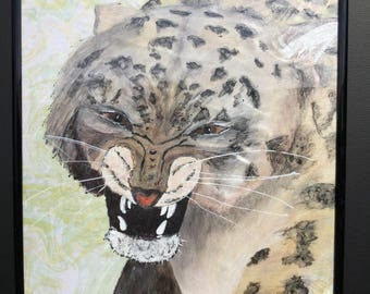 Snow leopard hand painted, hand drawn, hand marbling