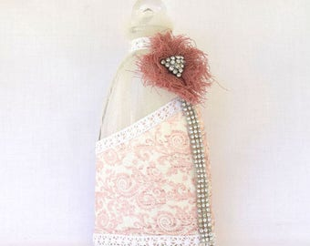 Pink bottle with strass | Gift for her | Wedding gift | Home decor