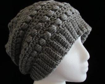 Handmade Crochet Textured Gray Slouchy