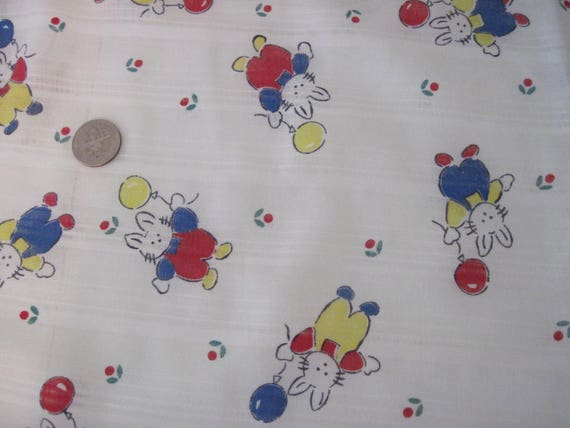 Vintage child baby nursery bunny print fabric c1970 39 s for Nursery print fabric