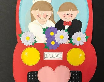 Just Married Punch Art Couple paper pieceing