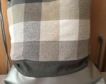 Checkered Silver grey backpack turn bag bag