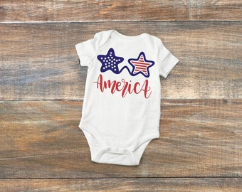 America baby bodysuit, stars an stripes bodysuit, Fourth of July bodysuit, Red White and Blue t shirt, Independence day tee shirt