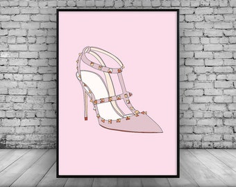 Valentino Rockstud Shoes;Valentino;Pink;Home Decor;Wall Art;Wall Hanging;Poster;Picture;Wall Decor;Gift Idea