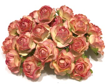 Two Tone Sunblush Open Mulberry Paper Roses Or062