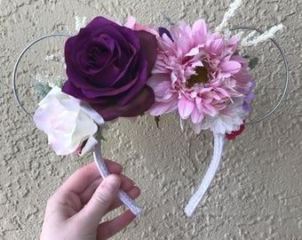Pink & purple floral minnie ears