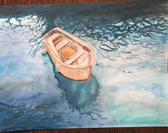 Tranquil Boat on Lake, watercolor painting, handmade, nautical art, 9 x 12 inch wall art