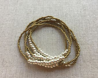 Seed Bead Stretch Layering Bracelet- Bronze