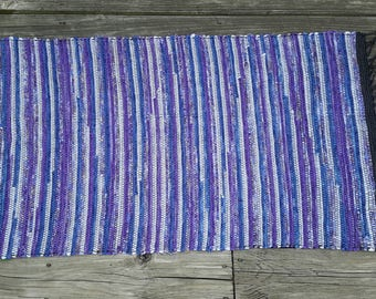 "Shades of Purple Woven Rag Rug 21"" X 42"""