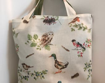 Oilcloth and cotton lined tote bag