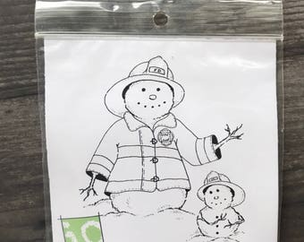Impression Obsession Fireman Snowman Stamp
