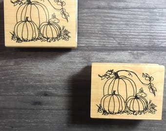 Pumpkin Patch Design Small Wooden Block Stamp